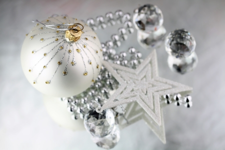 Christmas baubles, Crystal sphere and star on silver