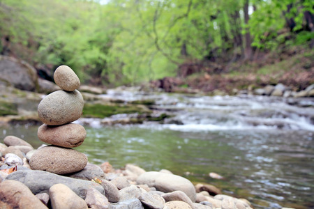 a pile of pebbles, selective focus with copy space