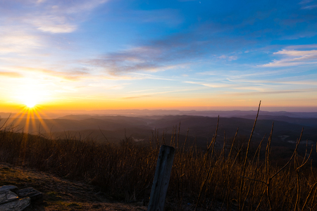 appalachian: The early morning sun warms the cold winter landscape of the Appalachian Mountains off the Blue Ridge Parkway as it rises.