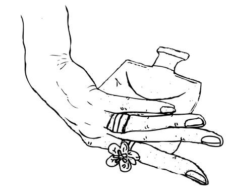 ladies hand holding perfume bottle Ilustração