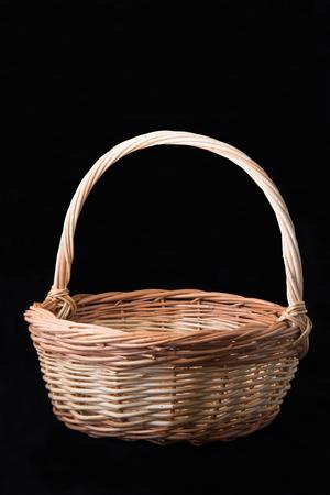 birchen: Basket made of birch bark on black background