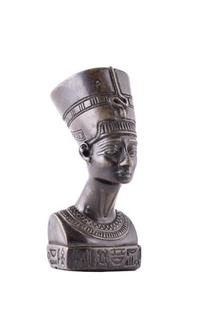 queen nefertiti: Bust of Queen Nefertiti isolated on white background