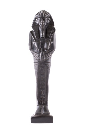 Statuette of the Egyptian pharaon made of stone on a white background Stock Photo