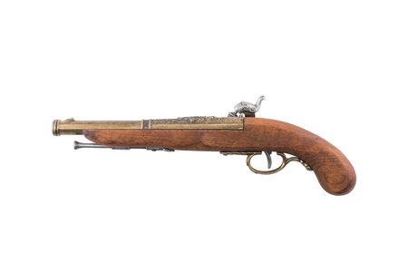 flintlock: Old wooden gun, isolated, on white background top view Stock Photo