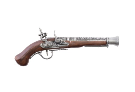 antique rifle: Old wooden gun, isolated, on white background top view Stock Photo