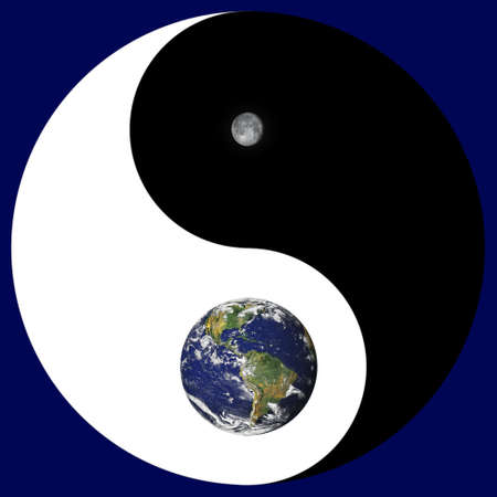 yin yang symbol: NASA public domain images of earth and moon combined with the ancient symbol of Yin and Yang