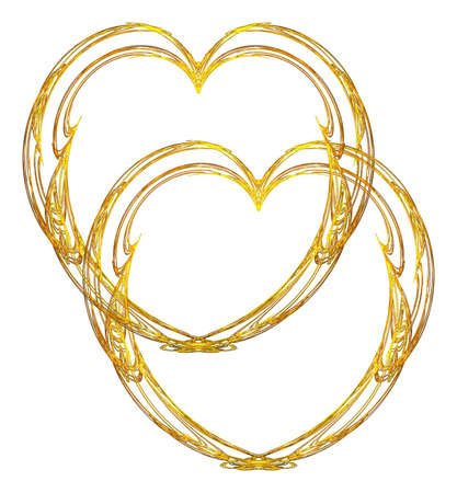 entwined: Two delicate metallic gold filigree hearts entwined on a white background