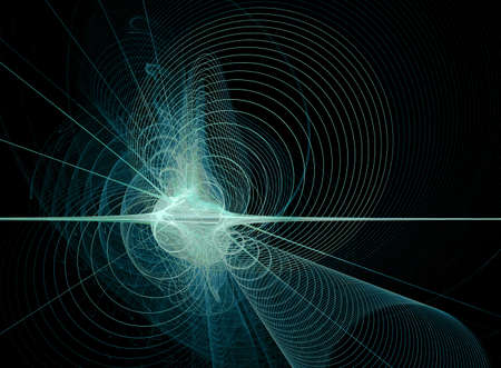 Blue spirals radiating from a swirling light source, on a black background photo
