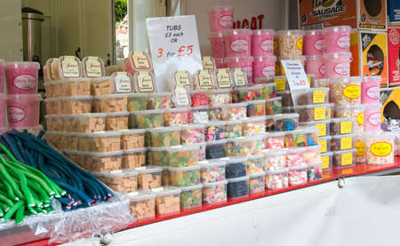 BALLYCASTLE, N. IRELAND - AUGUST 31 2010 - Traditional sweets and candy are on sale from an open air market stall at the famous annual Ould Lammas Fair on August 31, 2010 in Ballycastle, N. Ireland. Stock Photo - 9386786