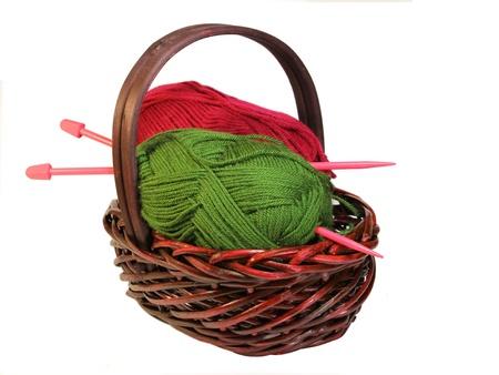 Knitting Basket Stock Photo