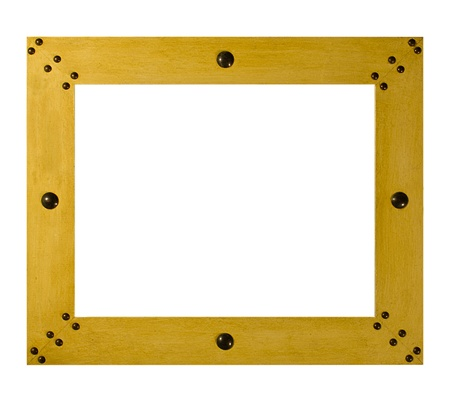 A wooden picture frame with metal studs