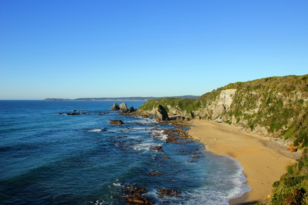 Seascape with Clear Blue Skies Stock Photo