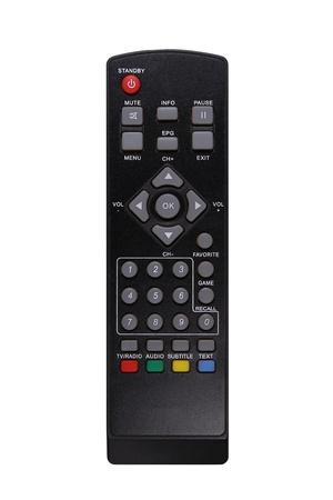 A black TV remote control