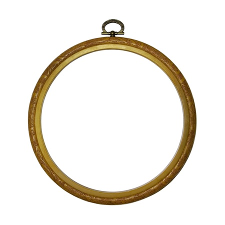 wooden frame: Round Picture Frame Stock Photo