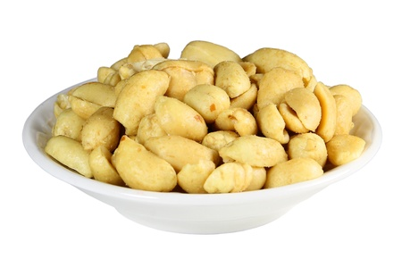 A plate of salted peanuts