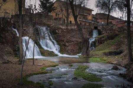 Waterfalls in the center of Trillo (Guadalajara), Spain. Stock fotó