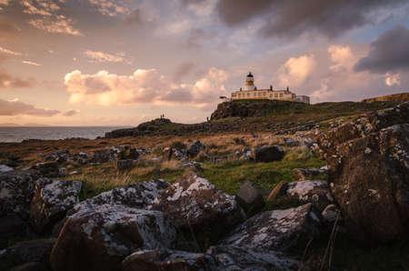 Neist Point Lighthouse at sunset, Isle of Skye, Scotland Stockfoto