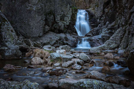 The famous waterfall of Purgatory located in the town of Rascafria in Guadarrama mountain range, Madrid, Spain