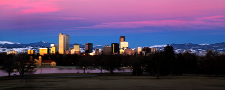 denver: Denver Colorado Skyline Landscape Stock Photo