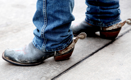 Vintage Cowboy boots with spurs Stok Fotoğraf