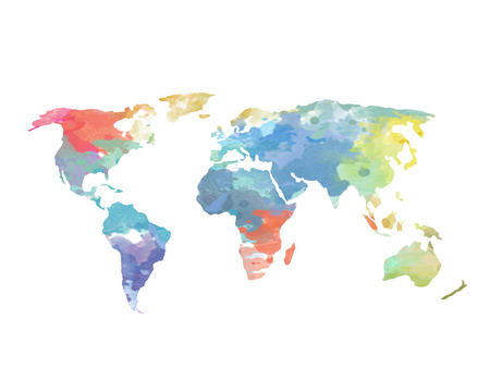 Watercolor World Map Poster Continents Ocean