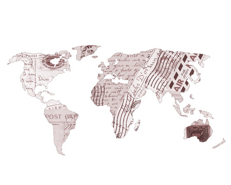 World Map covered in Travel Postcards