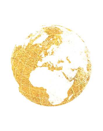 Gold Foil World Map Globe