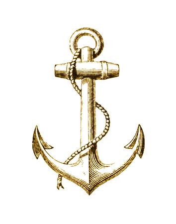 foil: Gold Foil Nautical Anchor