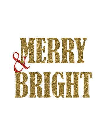 Merry and Bright Gold Glitter Sign Holiday Christmas