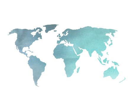 블루 수채화 세계지도 스톡 콘텐츠
