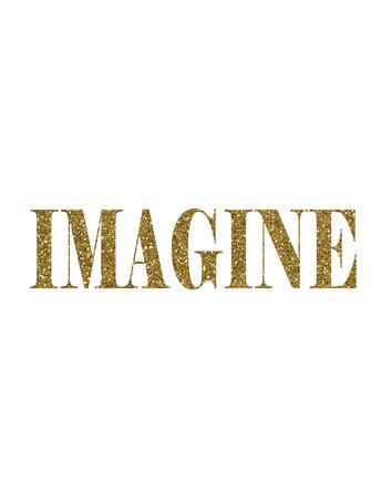 Gold Glitter Imagine text word Stock Photo