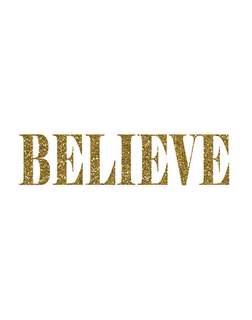 Gold Glitter Believe text word