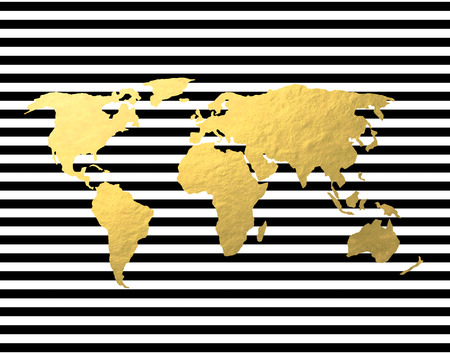 Gold Foil World Map on Black Stripe Backgroun