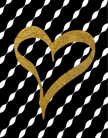 Gold Foil Heart on Black & White Stripe Background