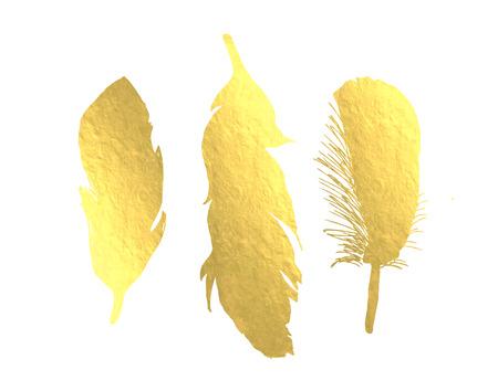 pluma: Plumas de aves Foil Oro