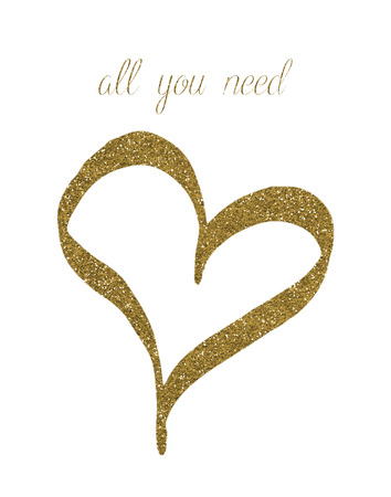 Gold Glitter Heart All You Need Love