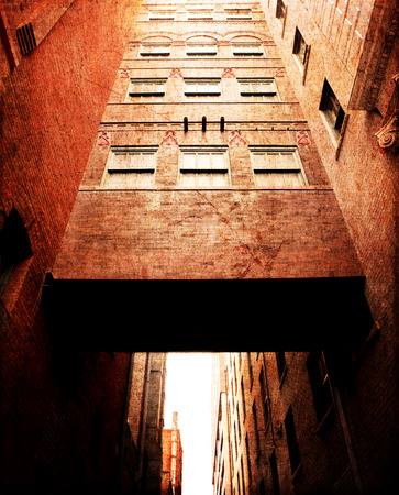 d cor: Old Red Brick Urban Architecture Building Stock Photo
