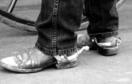 d       cor: Cowboy Boots with Silver Spurs Old and Dirty