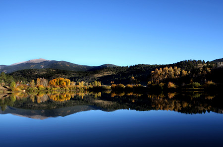 Reflection Blue Water & Sky Aspen Tree Fall Landscape