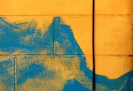 Yellow Blue Brick Wall Urban Street Art
