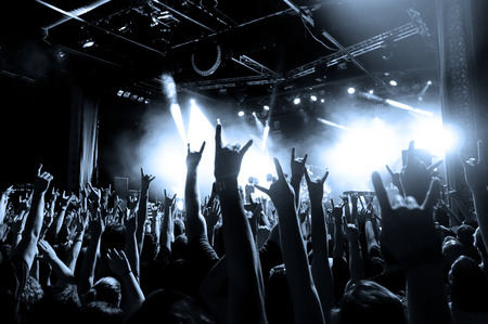 A crowd of people with their hands in the air at a concert