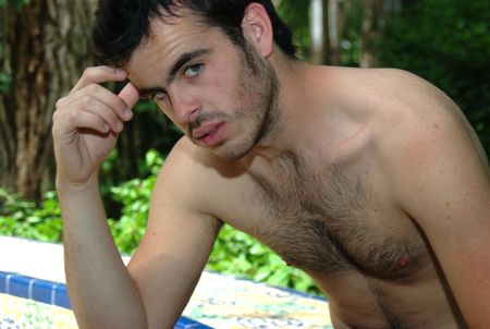 hairy chest: Jesus is somehow imitating here one of most famous Rodins scultures, The Thinker Stock Photo