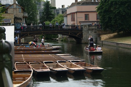 punting: Cambridge (UK). July 8th 2010.- Punting boats Editorial
