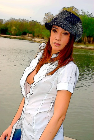 busty: With a hat and open shirt