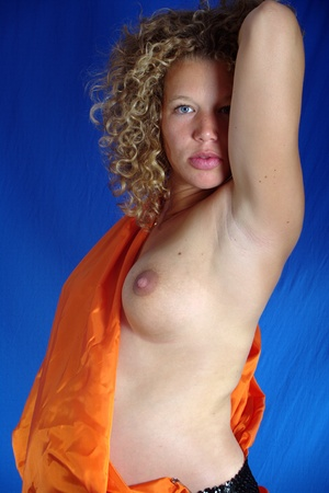 breast girl: Pregnant young lady with orange cloth 18