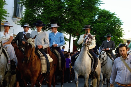 patron: Carmona (Sevilla) Spain.4th September 2011.- Yearly pilgrimage in honor of the patron saint. Riders.- 7