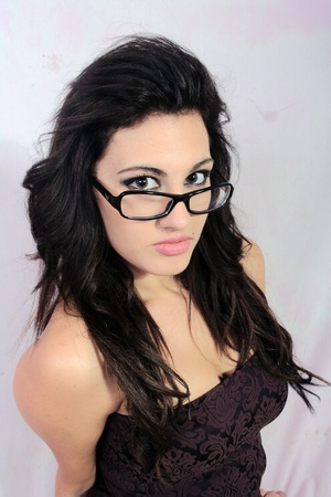 Wearing glasses in black  Stock Photo