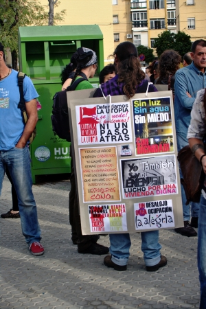 housing problems: Seville, Spain - 18 October 2012.- People prostest about housing problems