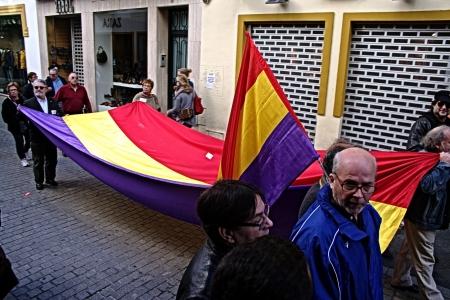 Seville, Spain, 14 November 2012.- Huge republican flag at the demonstration in the General strike 67 Editorial