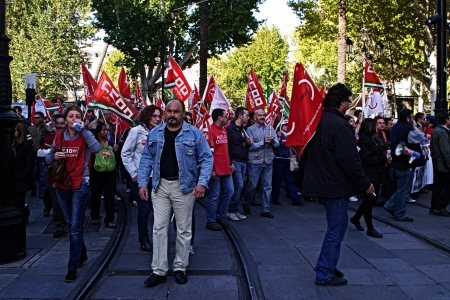 Seville, Spain, 14 November 2012.-  Protesters at the demonstration in the General strike 57 Editorial